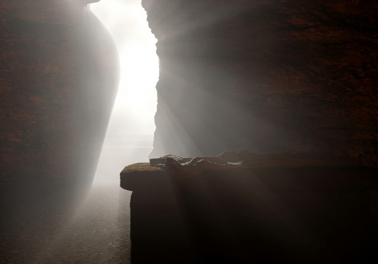 3d rendering of Jesus' cave after His resurrection. His light shining. Made for the Easter season showing the tomb  being empty after the stone rolled away.